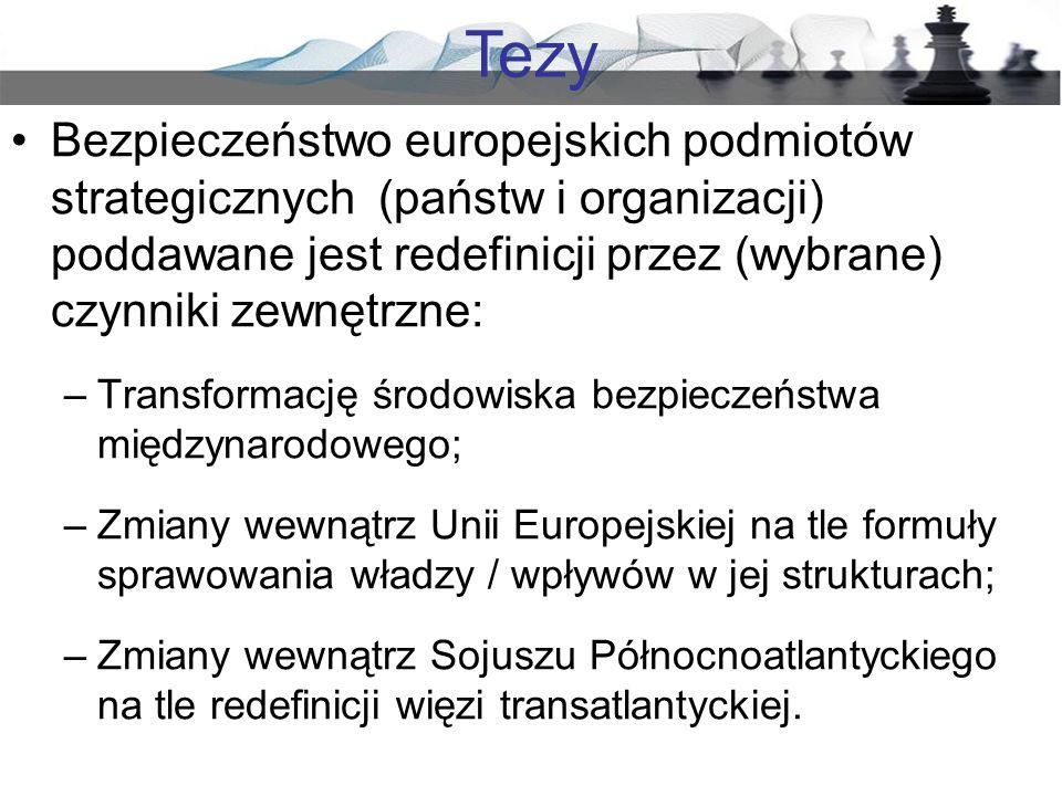 Tezy Bezpieczeństwo europejskich podmiotów strategicznych (państw i organizacji) poddawane jest redefinicji przez (wybrane) czynniki zewnętrzne: –Tran