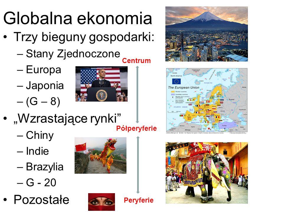 """Globalna ekonomia Trzy bieguny gospodarki: –Stany Zjednoczone –Europa –Japonia –(G – 8) """"Wzrastające rynki"""" –Chiny –Indie –Brazylia –G - 20 Pozostałe"""