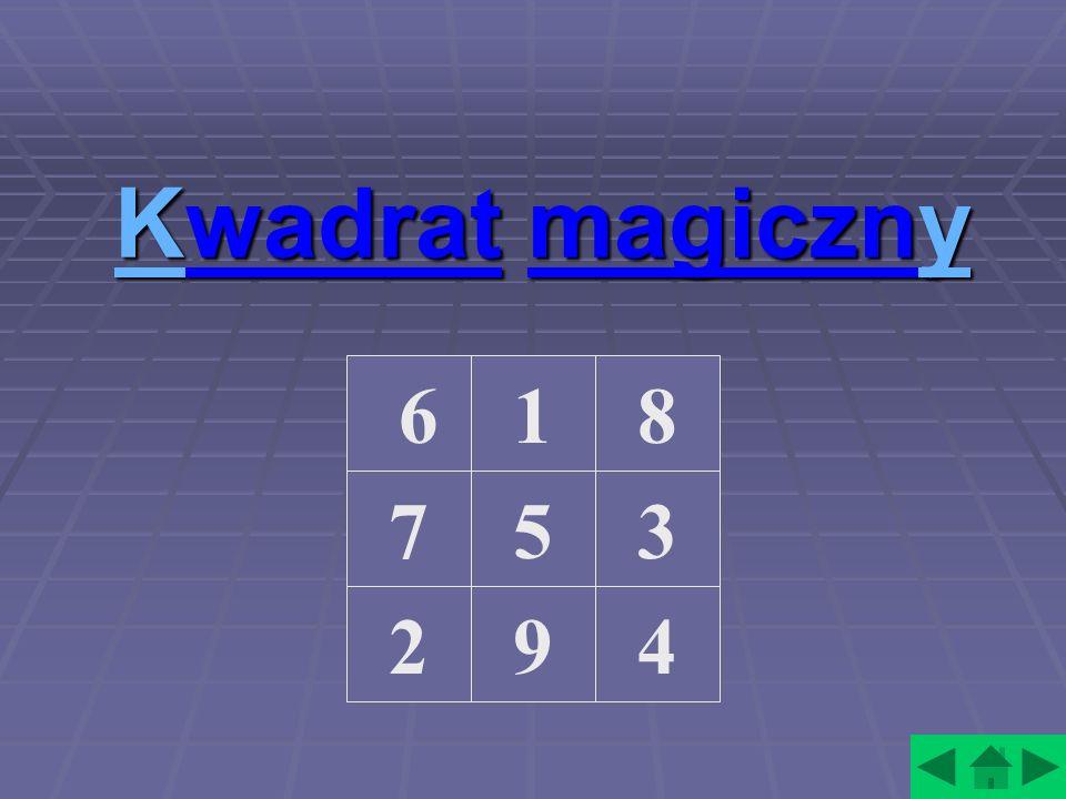 KKwadrat magiczny y Ky 618 3 4 57 29