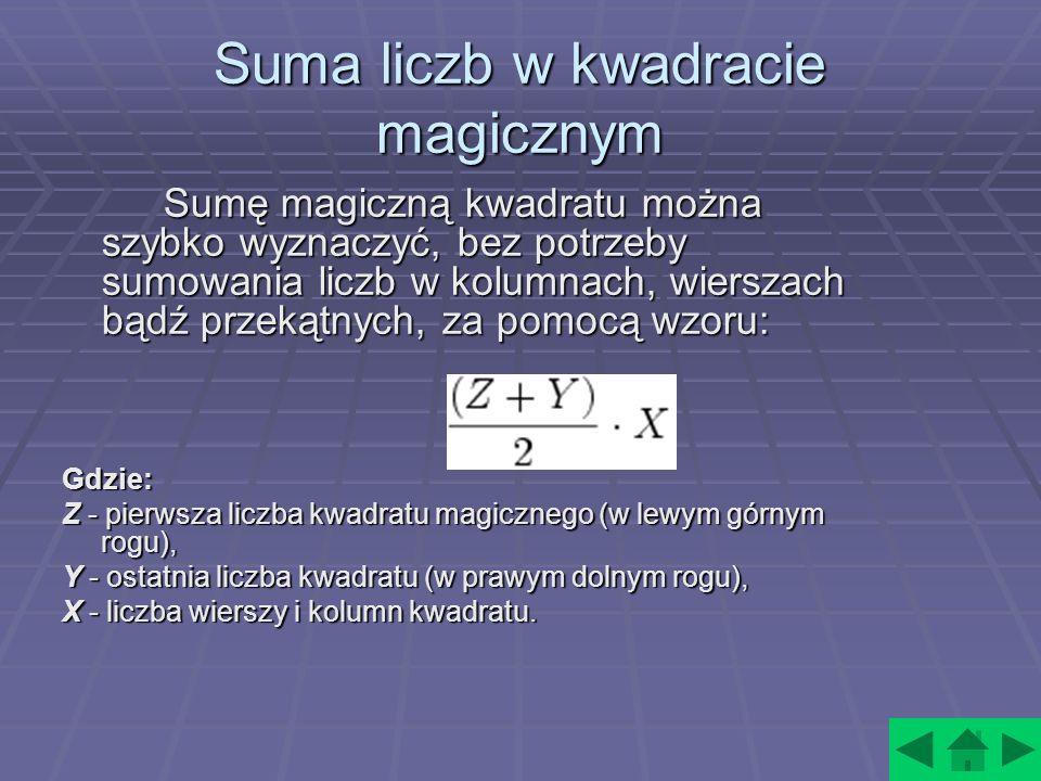 Suma liczb w kwadracie magicznym Sumę magiczną kwadratu można szybko wyznaczyć, bez potrzeby sumowania liczb w kolumnach, wierszach bądź przekątnych, za pomocą wzoru: Sumę magiczną kwadratu można szybko wyznaczyć, bez potrzeby sumowania liczb w kolumnach, wierszach bądź przekątnych, za pomocą wzoru: Gdzie: Z - pierwsza liczba kwadratu magicznego (w lewym górnym rogu), Y - ostatnia liczba kwadratu (w prawym dolnym rogu), X - liczba wierszy i kolumn kwadratu.