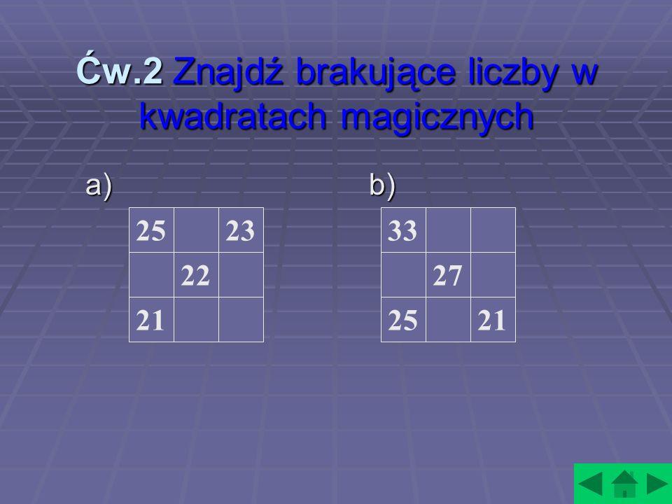 Ćw.2 Znajdź brakujące liczby w kwadratach magicznych a) b) 25 21 22 2333 21 27 25