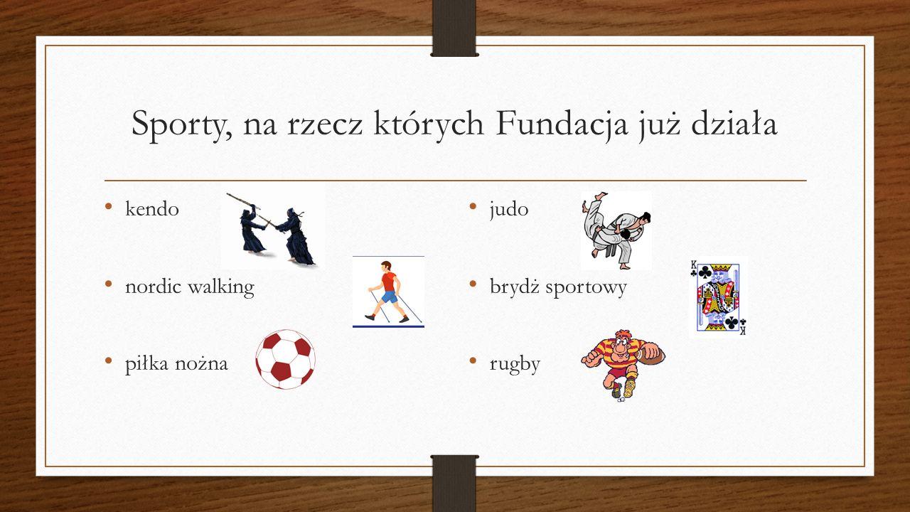 Sporty, na rzecz których Fundacja już działa kendo nordic walking piłka nożna judo brydż sportowy rugby