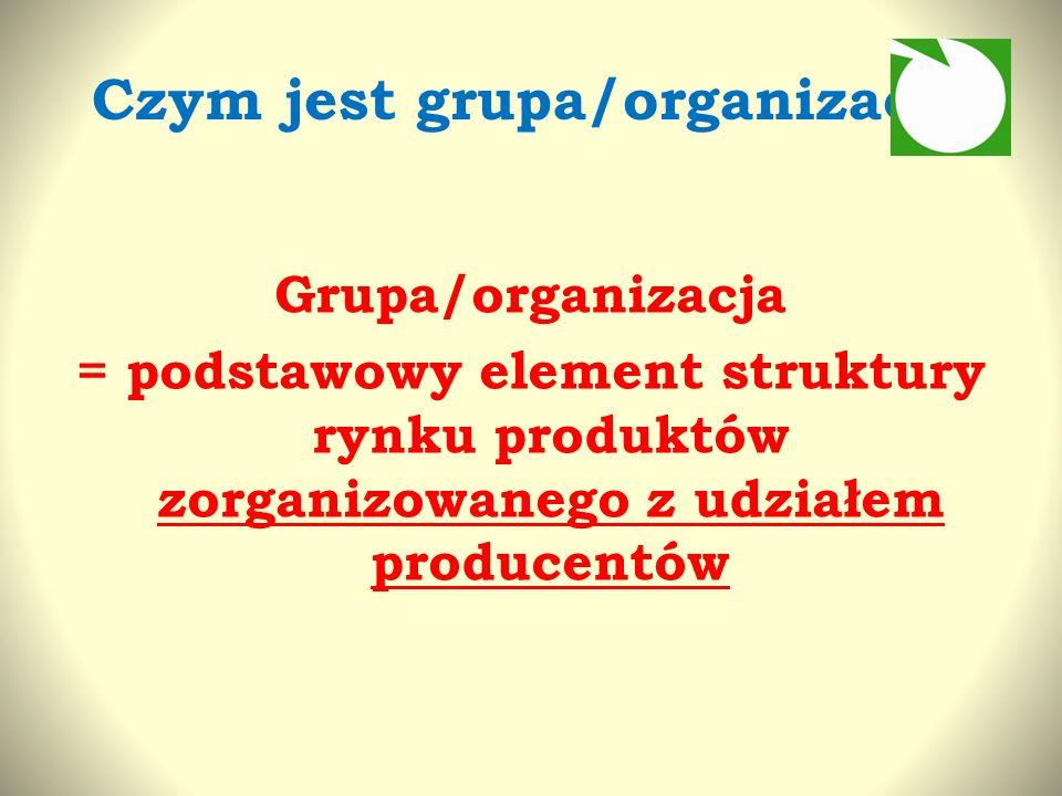 Czym jest grupa/organizacja Grupa/organizacja = podstawowy element struktury rynku produktów zorganizowanego z udziałem producentów