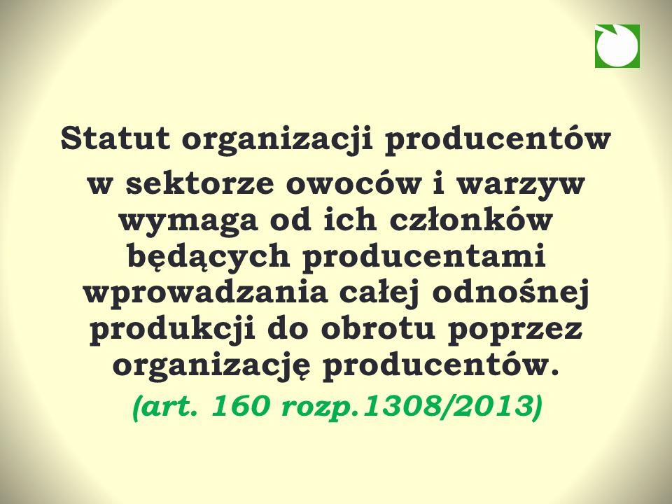 Statut organizacji producentów w sektorze owoców i warzyw wymaga od ich członków będących producentami wprowadzania całej odnośnej produkcji do obrotu poprzez organizację producentów.