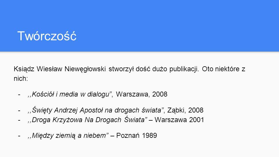 Twórczość Ksiądz Wiesław Niewęgłowski stworzył dość dużo publikacji.