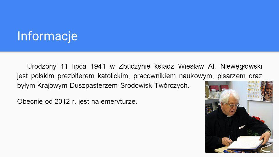 Informacje Urodzony 11 lipca 1941 w Zbuczynie ksiądz Wiesław Al.