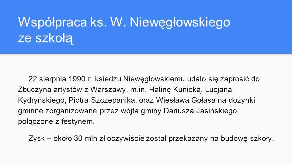 Współpraca ks. W. Niewęgłowskiego ze szkołą 22 sierpnia 1990 r.