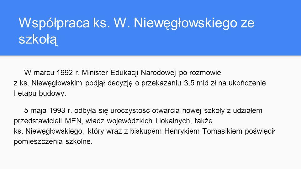 Współpraca ks. W. Niewęgłowskiego ze szkołą W marcu 1992 r.