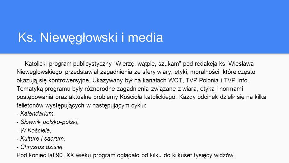 Ks. Niewęgłowski i media Katolicki program publicystyczny Wierzę, wątpię, szukam pod redakcją ks.