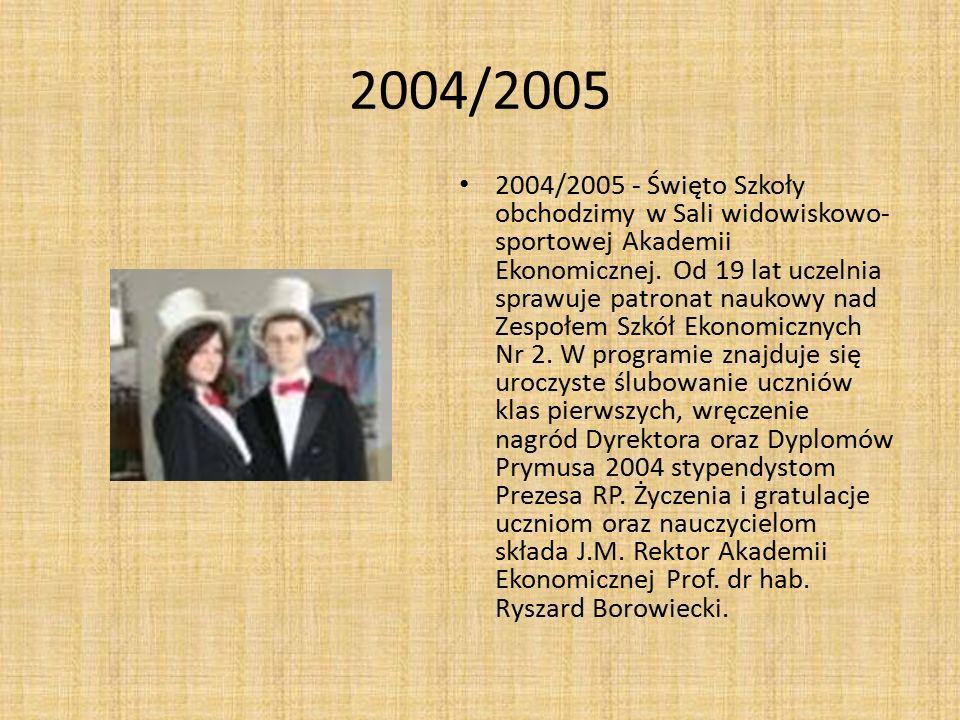 2004/2005 2004/2005 - Święto Szkoły obchodzimy w Sali widowiskowo- sportowej Akademii Ekonomicznej. Od 19 lat uczelnia sprawuje patronat naukowy nad Z