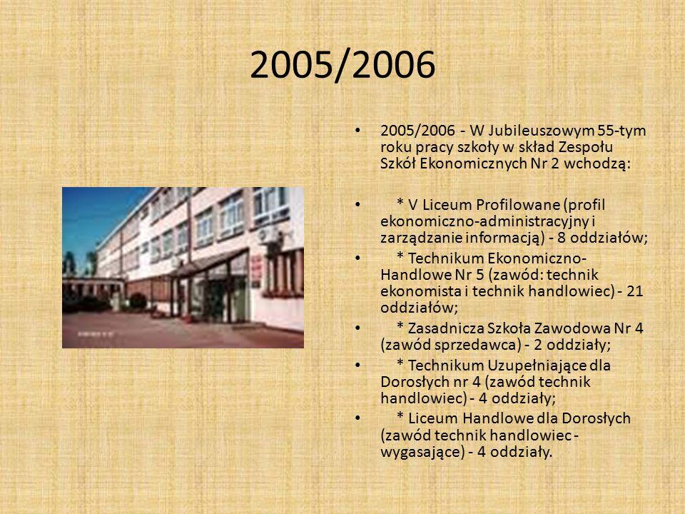 2005/2006 2005/2006 - W Jubileuszowym 55-tym roku pracy szkoły w skład Zespołu Szkół Ekonomicznych Nr 2 wchodzą: * V Liceum Profilowane (profil ekonom