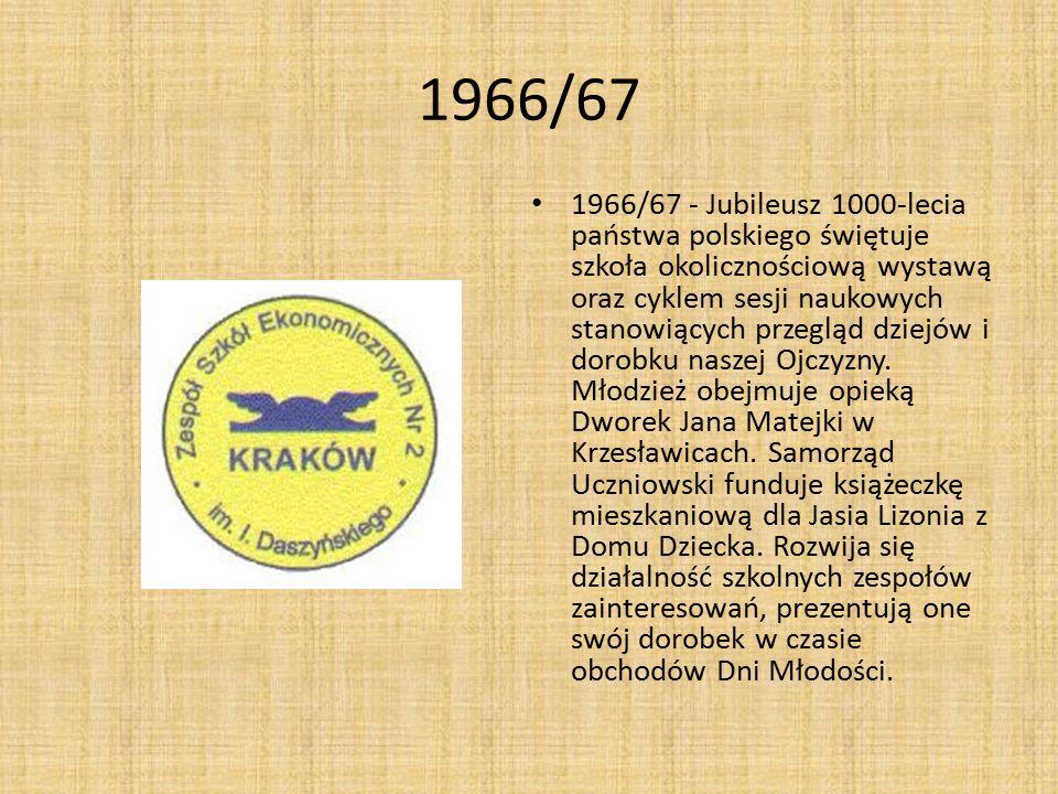 1966/67 1966/67 - Jubileusz 1000-lecia państwa polskiego świętuje szkoła okolicznościową wystawą oraz cyklem sesji naukowych stanowiących przegląd dzi