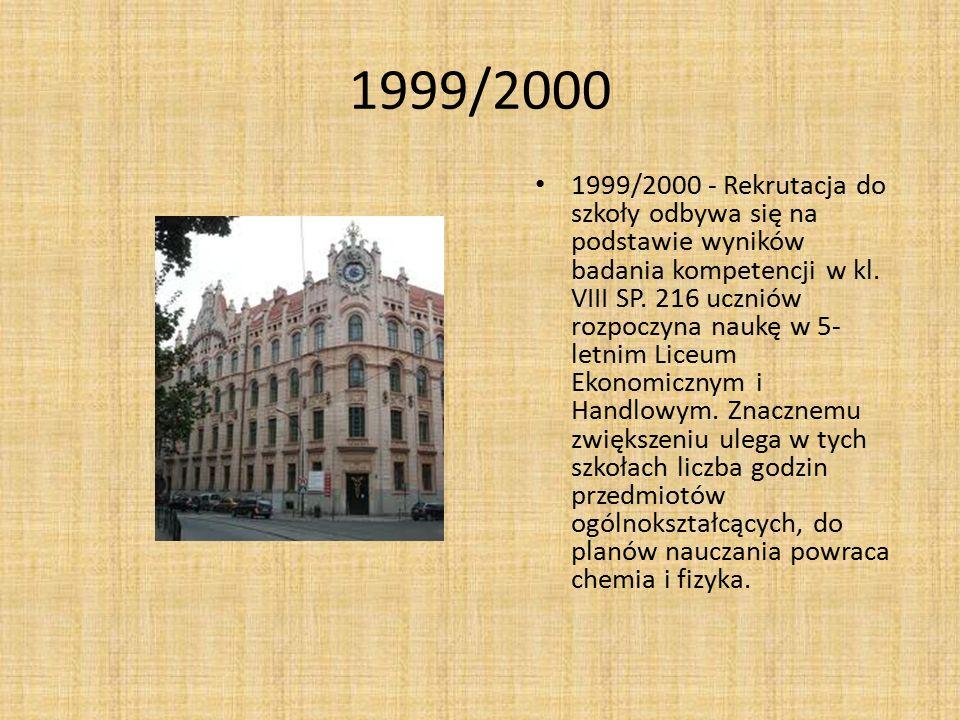 1999/2000 1999/2000 - Rekrutacja do szkoły odbywa się na podstawie wyników badania kompetencji w kl. VIII SP. 216 uczniów rozpoczyna naukę w 5- letnim