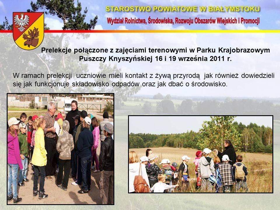 Prelekcje połączone z zajęciami terenowymi w Parku Krajobrazowym Puszczy Knyszyńskiej 16 i 19 września 2011 r.