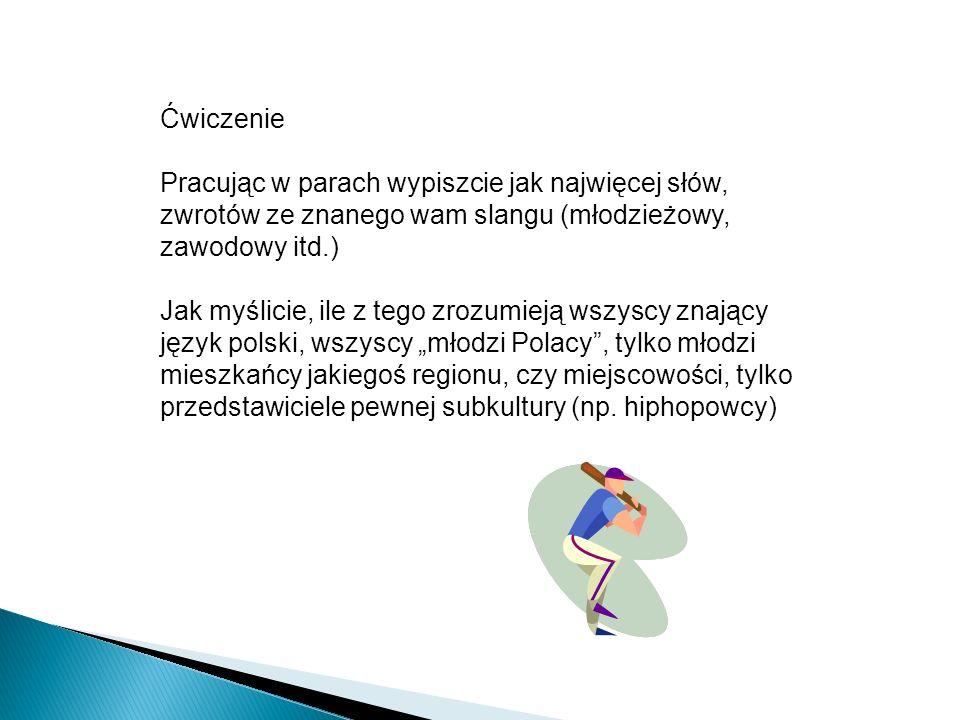 """Ćwiczenie Pracując w parach wypiszcie jak najwięcej słów, zwrotów ze znanego wam slangu (młodzieżowy, zawodowy itd.) Jak myślicie, ile z tego zrozumieją wszyscy znający język polski, wszyscy """"młodzi Polacy , tylko młodzi mieszkańcy jakiegoś regionu, czy miejscowości, tylko przedstawiciele pewnej subkultury (np."""