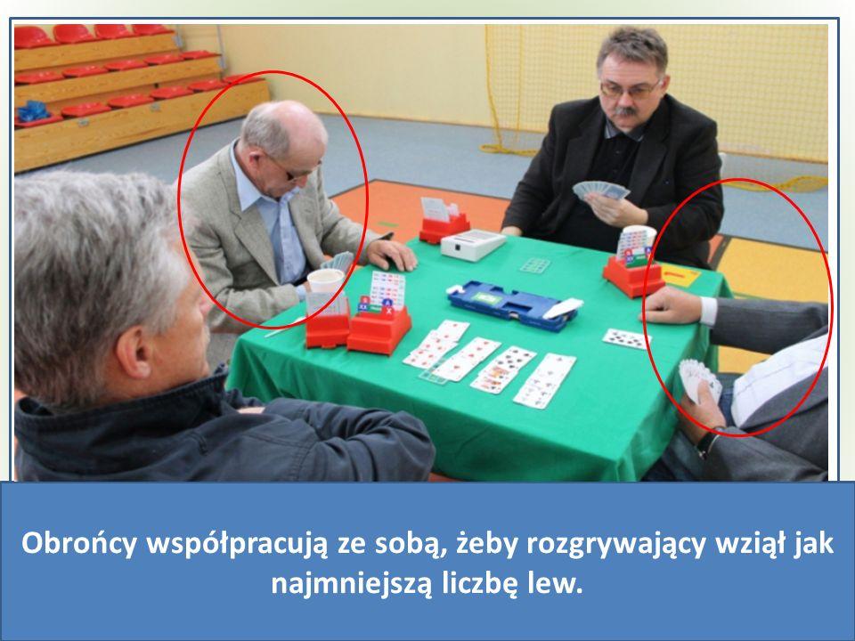 ♠A♥A♦A♣A♠A♥A♦A♣A NESW ------------ Rozdawał:N Kontrakt:3BA Ty:N Lewy NS:0 Lewy WE:0 ♠A♥A♦A♣A♠A♥A♦A♣A ♠A♥A♦A♣A♠A♥A♦A♣A ♠A♥A♦A♣A♠A♥A♦A♣A A♣A♣ A♣A♣ A♣A♣ A♣A♣ Historia rozdania Obrońcy współpracują ze sobą, żeby rozgrywający wziął jak najmniejszą liczbę lew.
