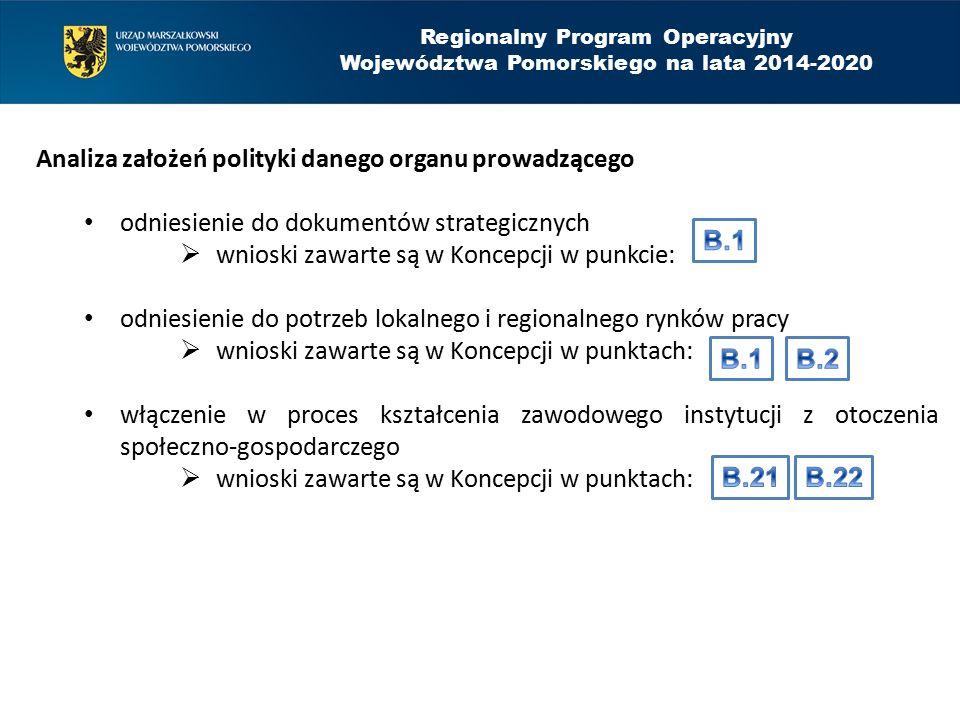 Analiza założeń polityki danego organu prowadzącego odniesienie do dokumentów strategicznych  wnioski zawarte są w Koncepcji w punkcie: odniesienie do potrzeb lokalnego i regionalnego rynków pracy  wnioski zawarte są w Koncepcji w punktach: włączenie w proces kształcenia zawodowego instytucji z otoczenia społeczno-gospodarczego  wnioski zawarte są w Koncepcji w punktach: Regionalny Program Operacyjny Województwa Pomorskiego na lata 2014-2020