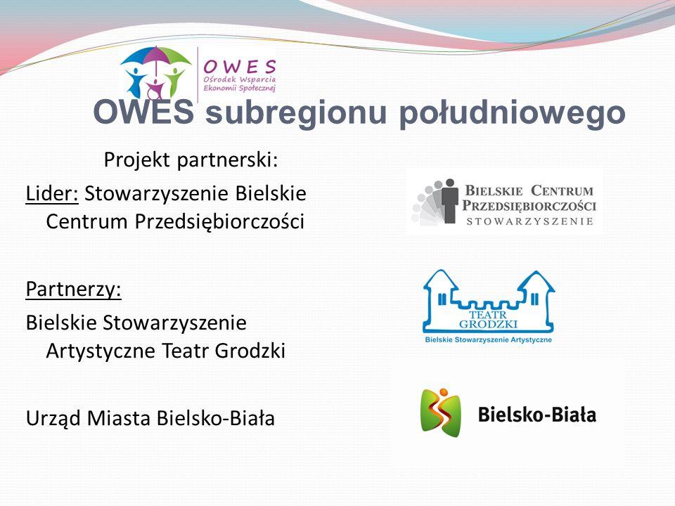 OWES subregionu południowego Projekt partnerski: Lider: Stowarzyszenie Bielskie Centrum Przedsiębiorczości Partnerzy: Bielskie Stowarzyszenie Artystyc