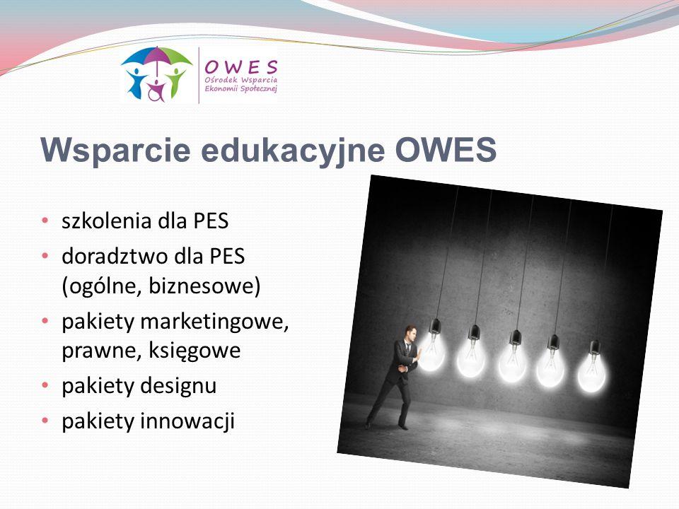 Wsparcie edukacyjne OWES szkolenia dla PES doradztwo dla PES (ogólne, biznesowe) pakiety marketingowe, prawne, księgowe pakiety designu pakiety innowa