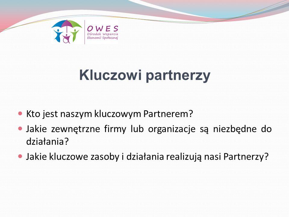Kluczowi partnerzy Kto jest naszym kluczowym Partnerem? Jakie zewnętrzne firmy lub organizacje są niezbędne do działania? Jakie kluczowe zasoby i dzia