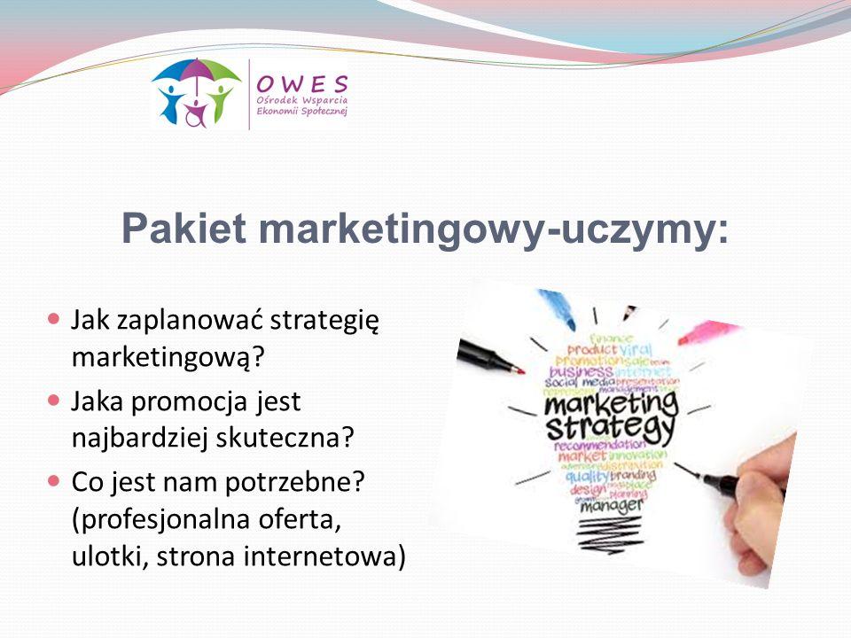 Pakiet marketingowy-uczymy: Jak zaplanować strategię marketingową? Jaka promocja jest najbardziej skuteczna? Co jest nam potrzebne? (profesjonalna ofe