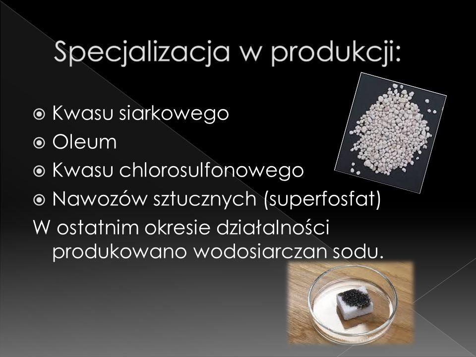  Kwasu siarkowego  Oleum  Kwasu chlorosulfonowego  Nawozów sztucznych (superfosfat) W ostatnim okresie działalności produkowano wodosiarczan sodu.