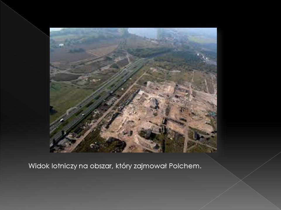 Widok lotniczy na obszar, który zajmował Polchem.