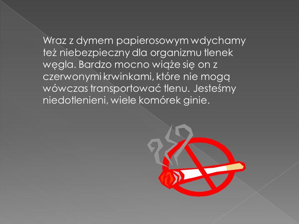 Wraz z dymem papierosowym wdychamy też niebezpieczny dla organizmu tlenek węgla.