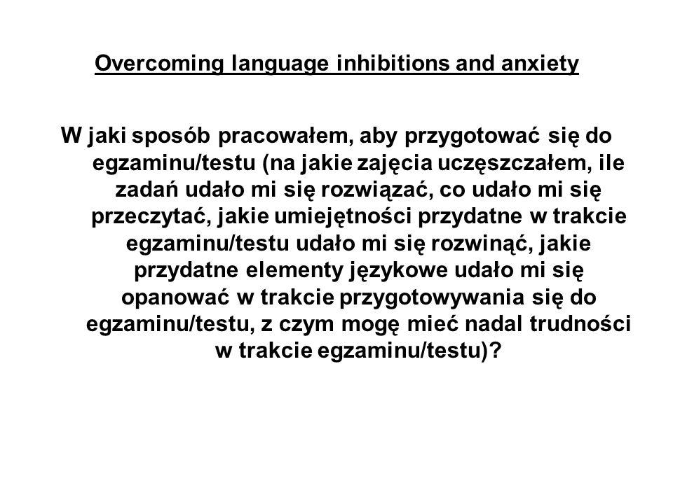 Overcoming language inhibitions and anxiety Czy mój sukces/moja porażka na egzaminie/teście będzie dla mnie motywująca, czy też demotywująca.