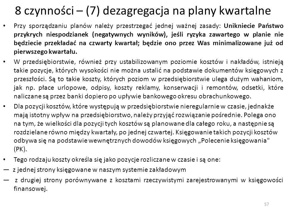 8 czynności – (7) dezagregacja na plany kwartalne Przy sporządzaniu planów należy przestrzegać jednej ważnej zasady: Unikniecie Państwo przykrych nies