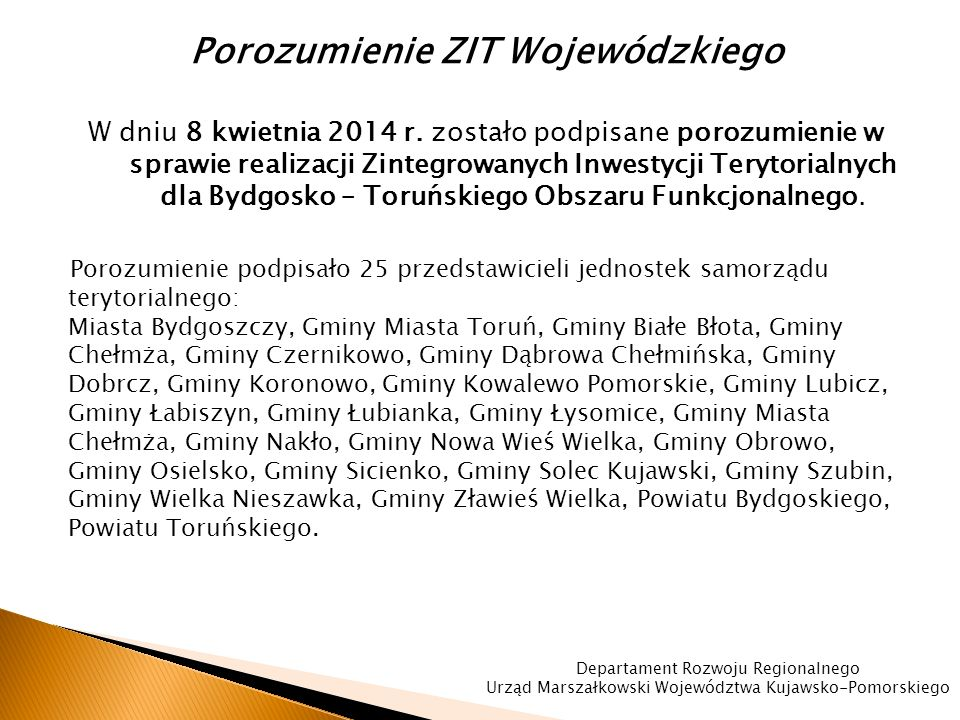 Porozumienie ZIT Wojewódzkiego W dniu 8 kwietnia 2014 r.