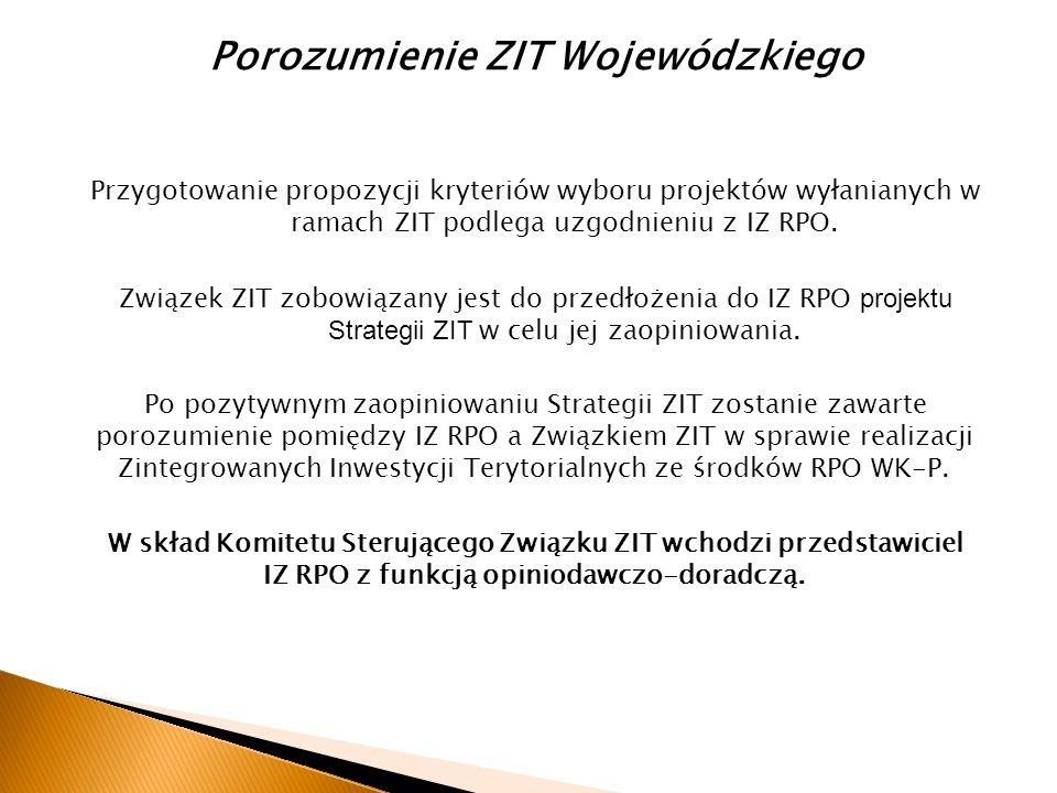 Porozumienie ZIT Wojewódzkiego Przygotowanie propozycji kryteriów wyboru projektów wyłanianych w ramach ZIT podlega uzgodnieniu z IZ RPO.