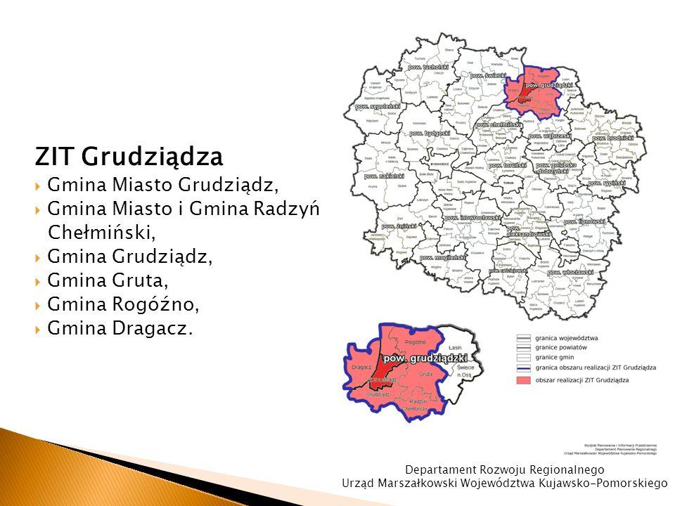 ZIT Grudziądza  Gmina Miasto Grudziądz,  Gmina Miasto i Gmina Radzyń Chełmiński,  Gmina Grudziądz,  Gmina Gruta,  Gmina Rogóźno,  Gmina Dragacz.
