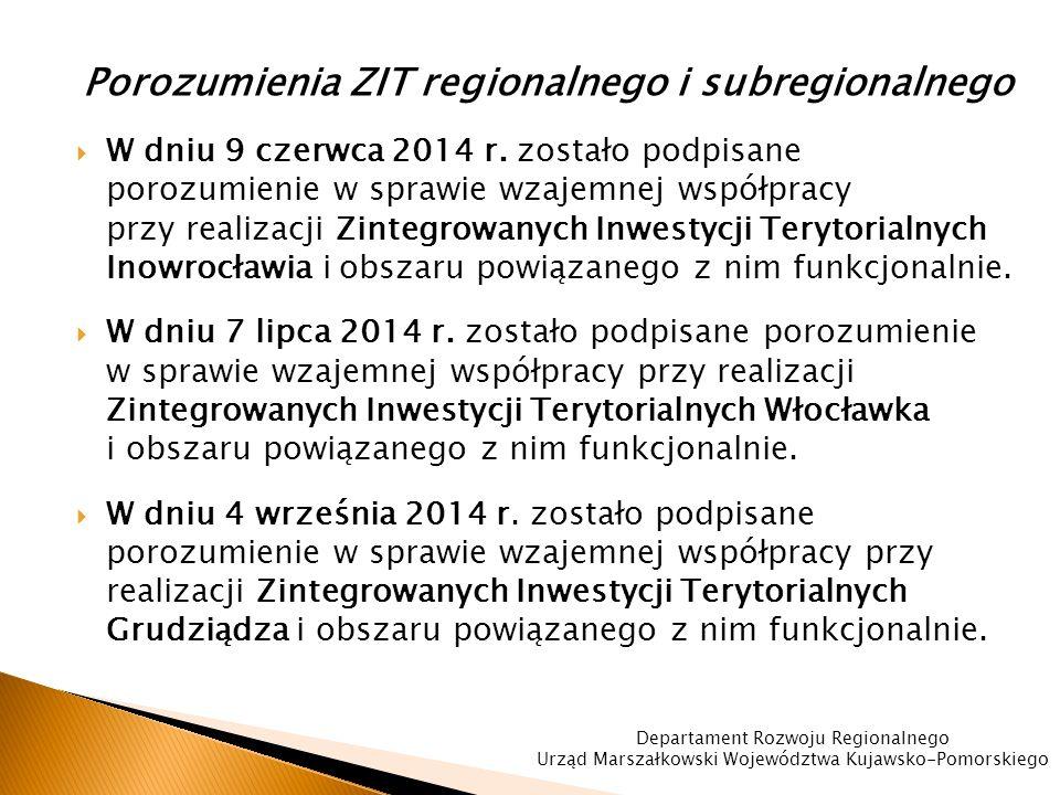 Porozumienia ZIT regionalnego i subregionalnego  W dniu 9 czerwca 2014 r.