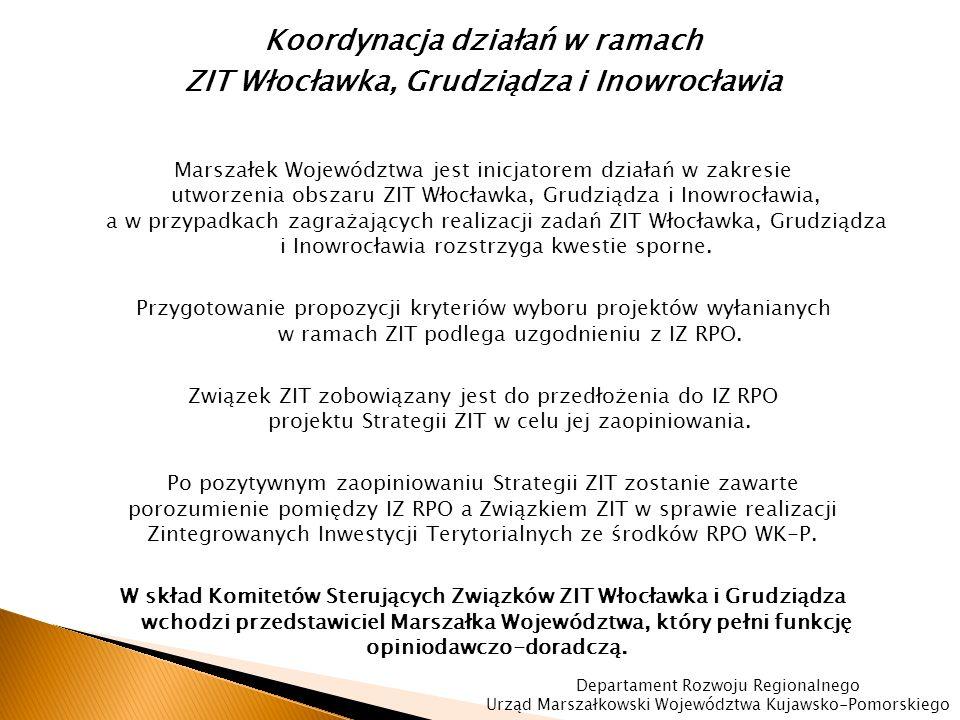 Koordynacja działań w ramach ZIT Włocławka, Grudziądza i Inowrocławia Marszałek Województwa jest inicjatorem działań w zakresie utworzenia obszaru ZIT Włocławka, Grudziądza i Inowrocławia, a w przypadkach zagrażających realizacji zadań ZIT Włocławka, Grudziądza i Inowrocławia rozstrzyga kwestie sporne.