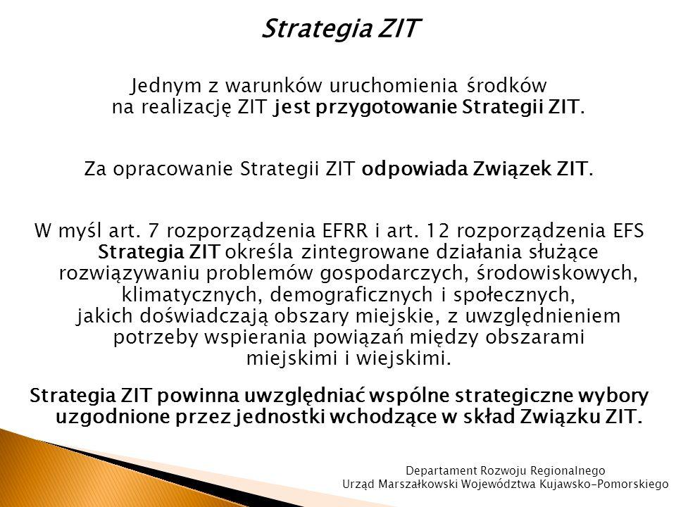 Strategia ZIT Jednym z warunków uruchomienia środków na realizację ZIT jest przygotowanie Strategii ZIT.