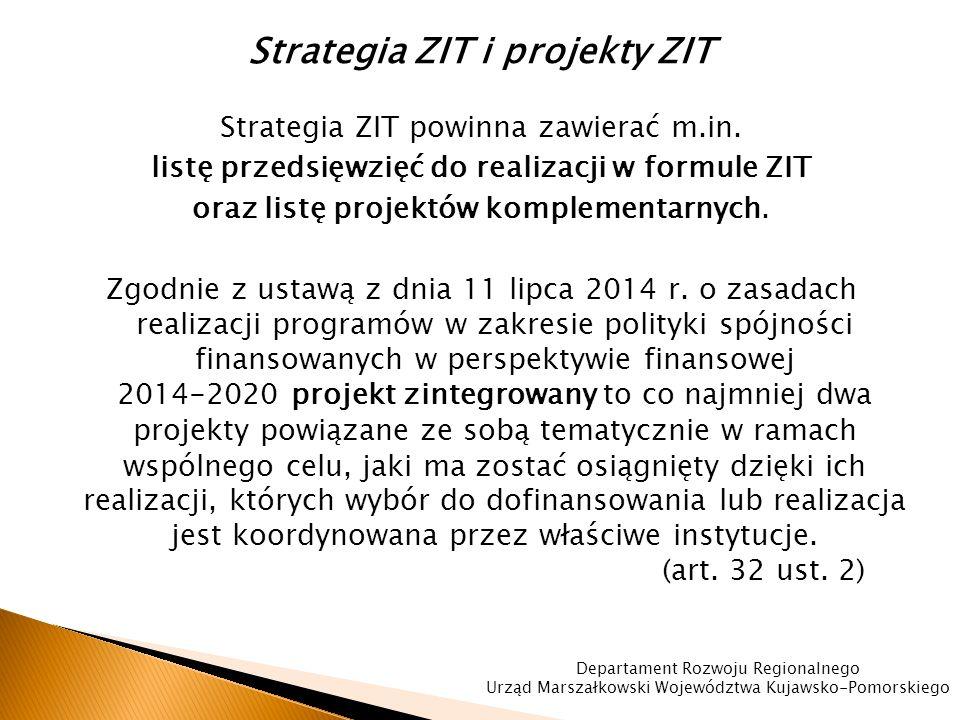 Strategia ZIT i projekty ZIT Strategia ZIT powinna zawierać m.in.