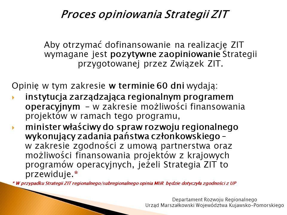 Proces opiniowania Strategii ZIT Aby otrzymać dofinansowanie na realizację ZIT wymagane jest pozytywne zaopiniowanie Strategii przygotowanej przez Związek ZIT.