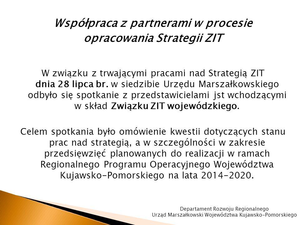 Współpraca z partnerami w procesie opracowania Strategii ZIT W związku z trwającymi pracami nad Strategią ZIT dnia 28 lipca br.