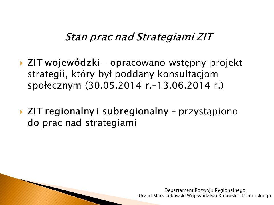 Stan prac nad Strategiami ZIT  ZIT wojewódzki – opracowano wstępny projekt strategii, który był poddany konsultacjom społecznym (30.05.2014 r.–13.06.2014 r.)  ZIT regionalny i subregionalny – przystąpiono do prac nad strategiami Departament Rozwoju Regionalnego Urząd Marszałkowski Województwa Kujawsko-Pomorskiego