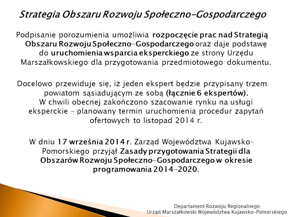 Strategia Obszaru Rozwoju Społeczno-Gospodarczego Podpisanie porozumienia umożliwia rozpoczęcie prac nad Strategią Obszaru Rozwoju Społeczno-Gospodarczego oraz daje podstawę do uruchomienia wsparcia eksperckiego ze strony Urzędu Marszałkowskiego dla przygotowania przedmiotowego dokumentu.