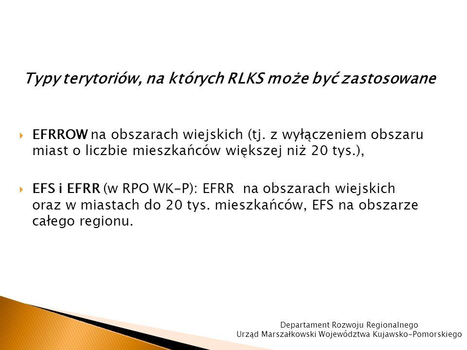 Typy terytoriów, na których RLKS może być zastosowane  EFRROW na obszarach wiejskich (tj.
