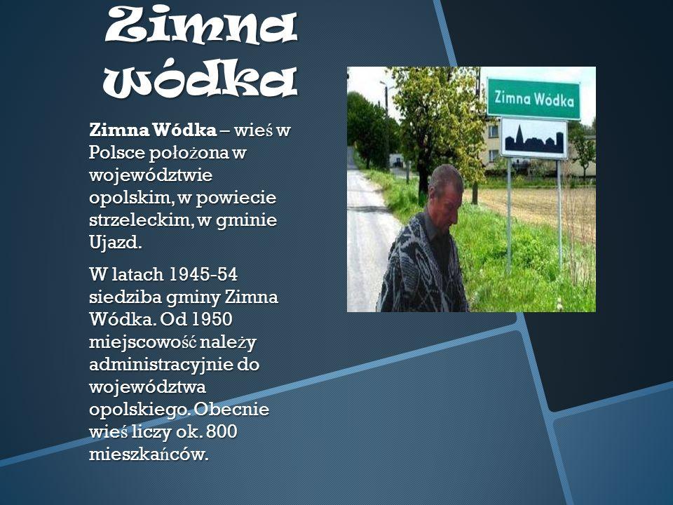 Zimna wódka Zimna Wódka – wie ś w Polsce po ł o ż ona w województwie opolskim, w powiecie strzeleckim, w gminie Ujazd.