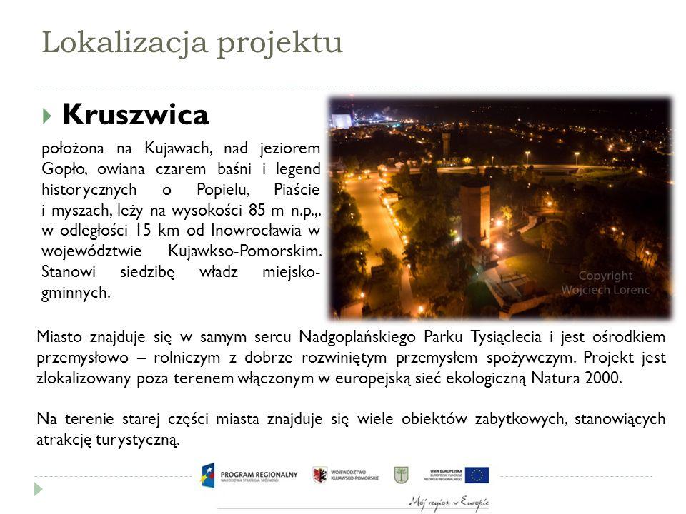 Lokalizacja projektu - zabytki gotycką wieżę  Wędrując brzegiem Gopła warto zwrócić uwagę na najcenniejszy zabytek Kruszwicy i niepisany symbol miasta – ceglaną, gotycką wieżę samotnie stojącą na Wzgórzu Zamkowym u nasady Półwyspu Rzępowskiego.