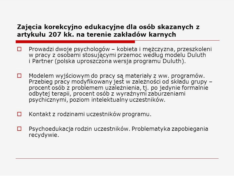 Zajęcia korekcyjno edukacyjne dla osób skazanych z artykułu 207 kk.