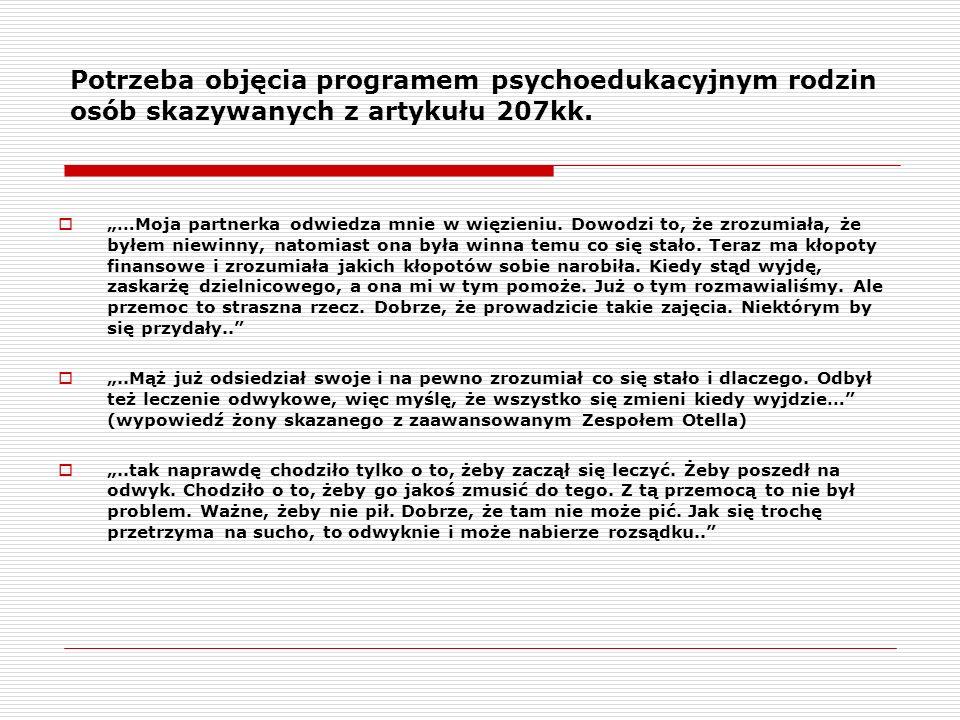 Potrzeba objęcia programem psychoedukacyjnym rodzin osób skazywanych z artykułu 207kk.