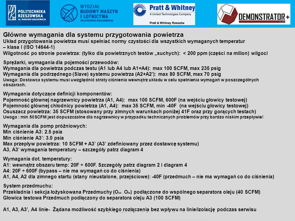 Pratt & Whitney Rzeszów S.A.. proprietary information Poland ECCN: 9E999 (not controlled according to PL & EU regulations to US) Główne wymagania dla