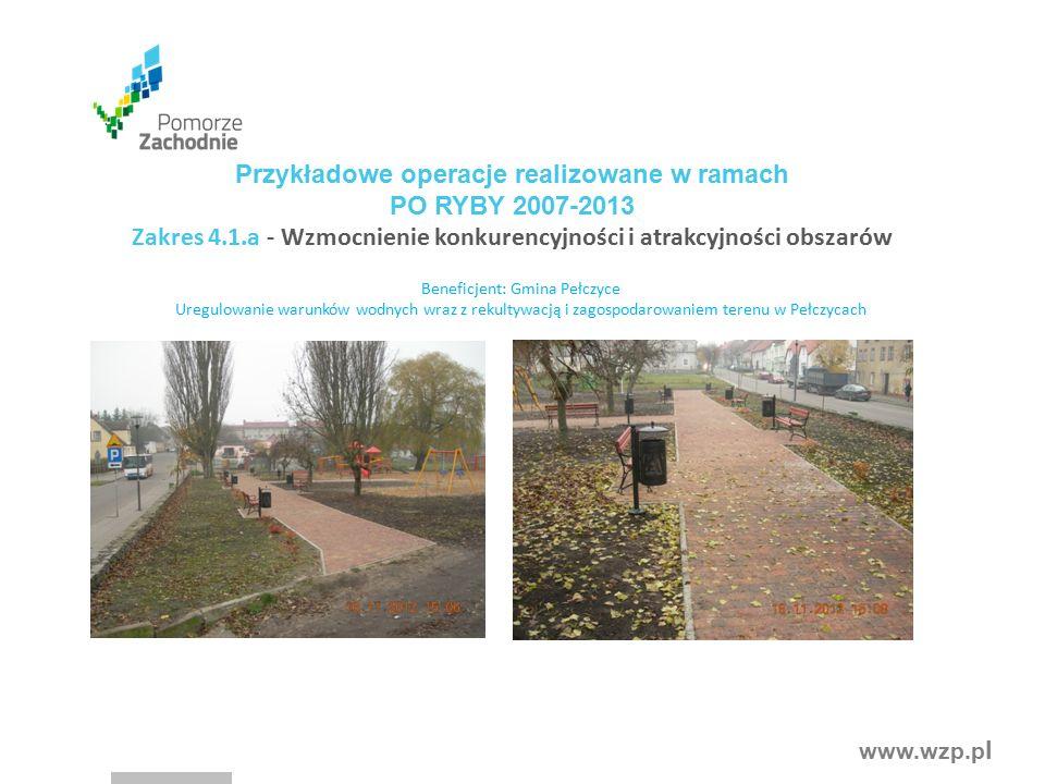 www.wzp.p l Beneficjent: Gmina Pełczyce Uregulowanie warunków wodnych wraz z rekultywacją i zagospodarowaniem terenu w Pełczycach Przykładowe operacje