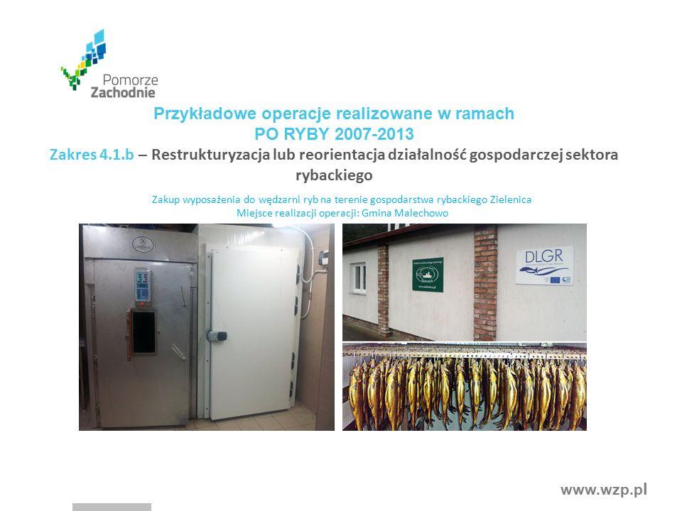 www.wzp.p l Zakup wyposażenia do wędzarni ryb na terenie gospodarstwa rybackiego Zielenica Miejsce realizacji operacji: Gmina Malechowo Przykładowe op