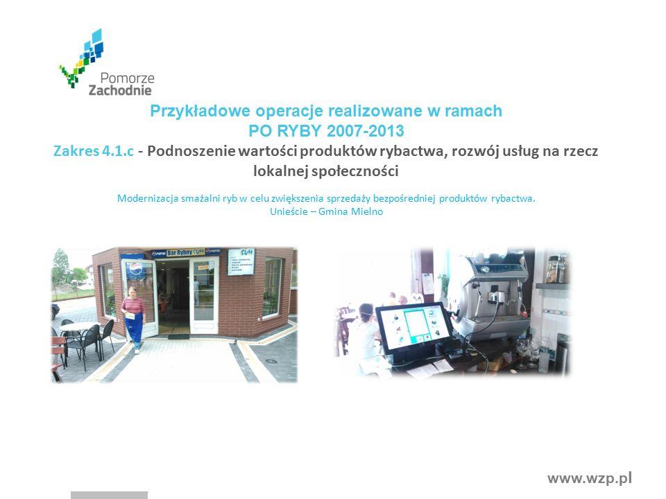 www.wzp.p l Modernizacja smażalni ryb w celu zwiększenia sprzedaży bezpośredniej produktów rybactwa. Unieście – Gmina Mielno Przykładowe operacje real